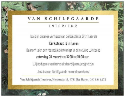 RE uitnodiging openingsfeest Van Schilfgaarde Interieur